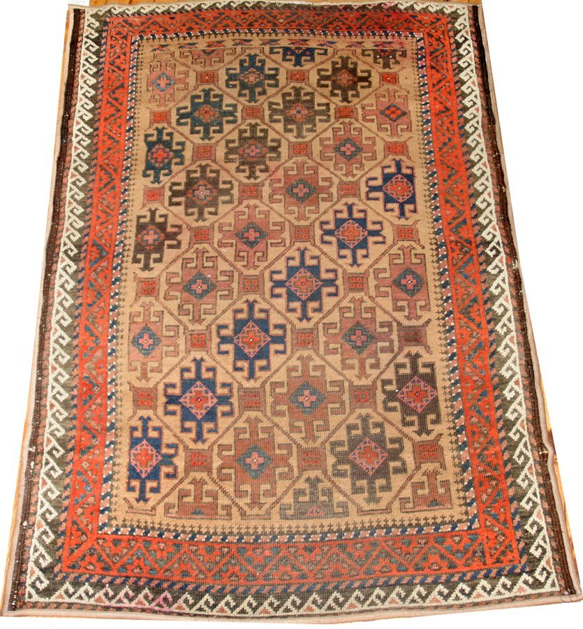 "050148: ANTIQUE WOOL KURDISH RUG, 3' 2"" X 4' 8"""