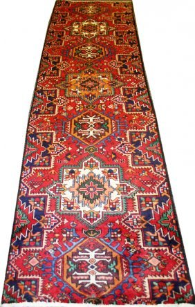 "HERIZ, WOOL PERSIAN RUNNER, C1970, 10'5"" X 2'9"""
