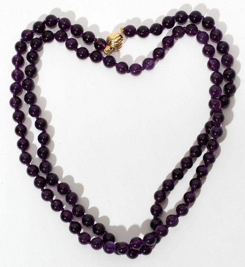 050152: AMETHYST BEAD NECKLACE, L 18 1/2""