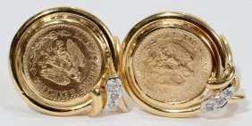 1945 GOLD PESOS COIN EARRINGS