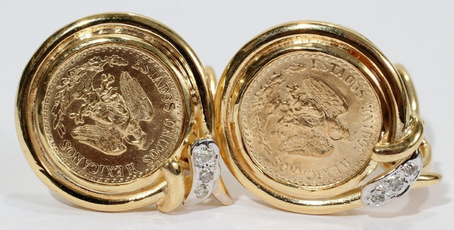 050153: 1945 GOLD PESOS COIN EARRINGS