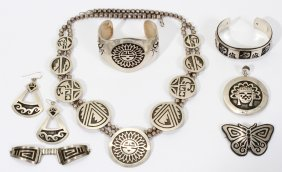 ZUNI 'SUN GOD' & OTHER SILVER JEWELRY, 8 PCS