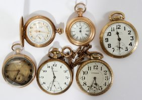 GOLD FILLED POCKET WATCHES, 6 PCS.
