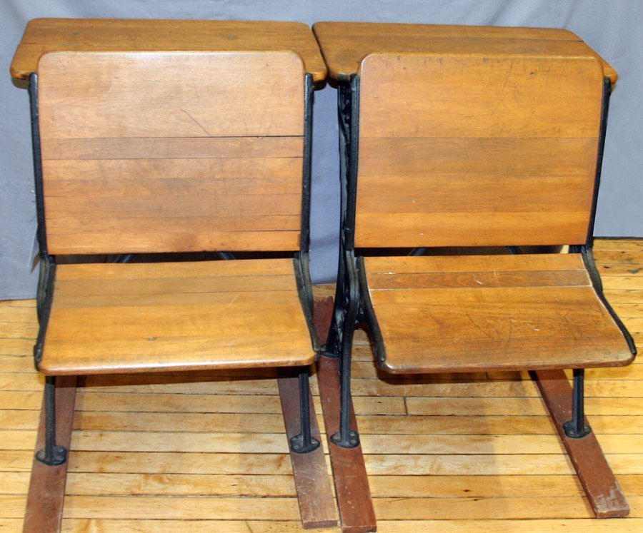 050166: OAK AND CAST IRON & WALNUT SCHOOL DESKS, 2 PCS.
