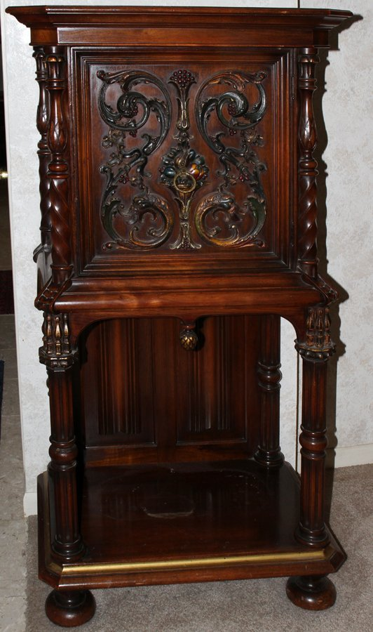 050168: ITALIAN CARVED WALNUT CABINET, C. 1920'S, H 55""