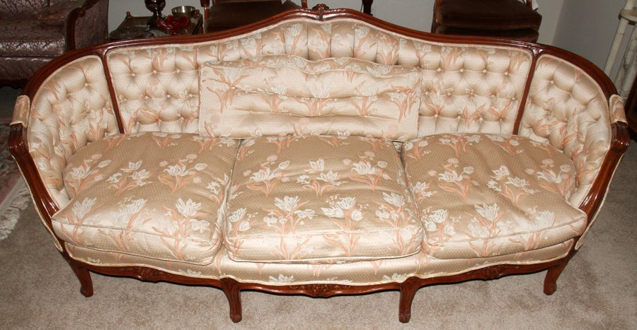 050169: MEYER GUNTHER MARTINI CARVED WALNUT SOFA, H 33""