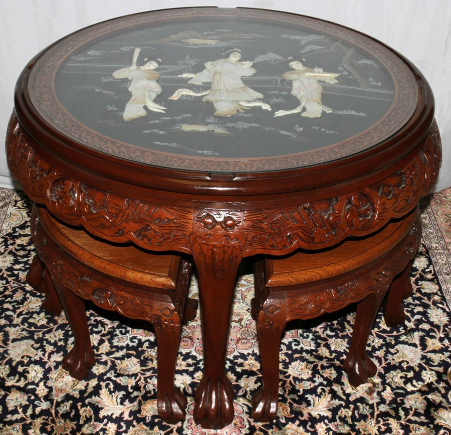 050177: CHINESE CARVED WOOD TABLE W/INSET LACQUER, H 21
