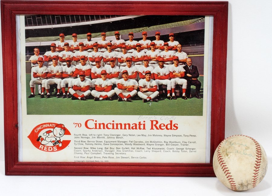 050184: CINCINNATI REDS, BASEBALL AND PHOTO SIGNED