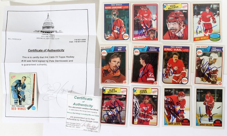 050186: DETROIT RED WINGS AUTOGRAPHED TRADING CARDS,