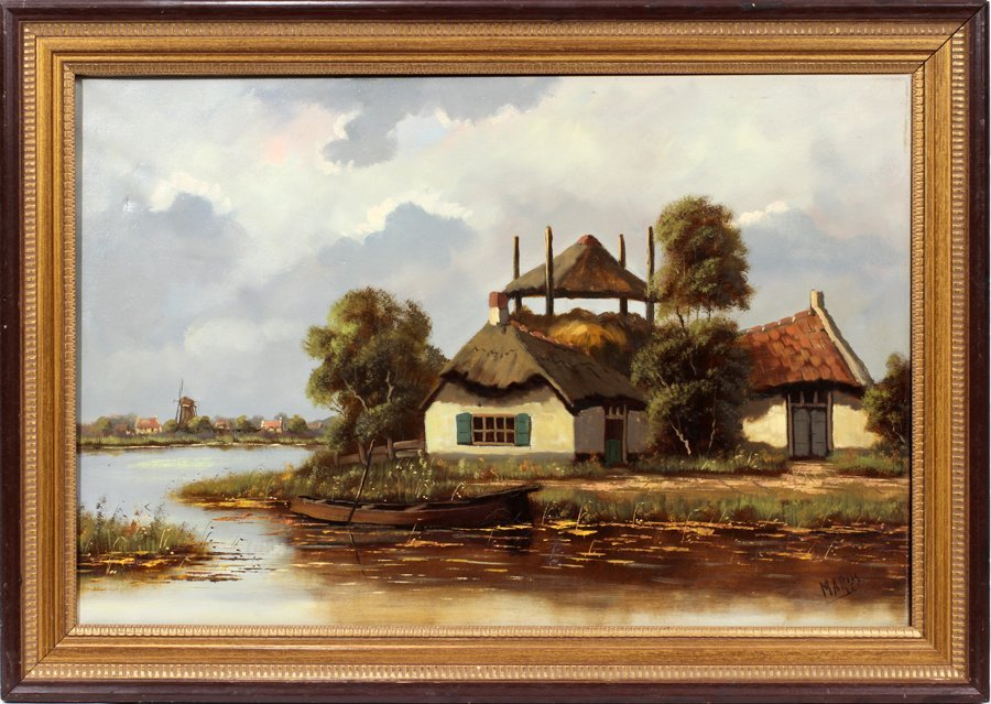 050193: SIGNED MARYS, OIL/CANVAS DUTCH CANAL SCENE, 24""