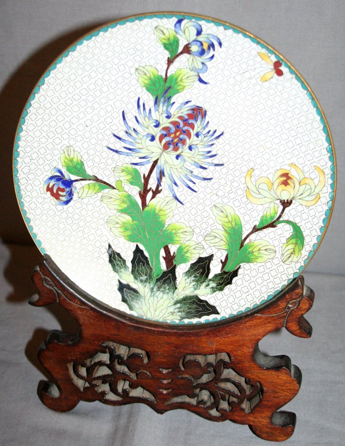 """050259: CHINESE CLOISONNÉ CHARGER, WITH STAND, DIA 8"""""""