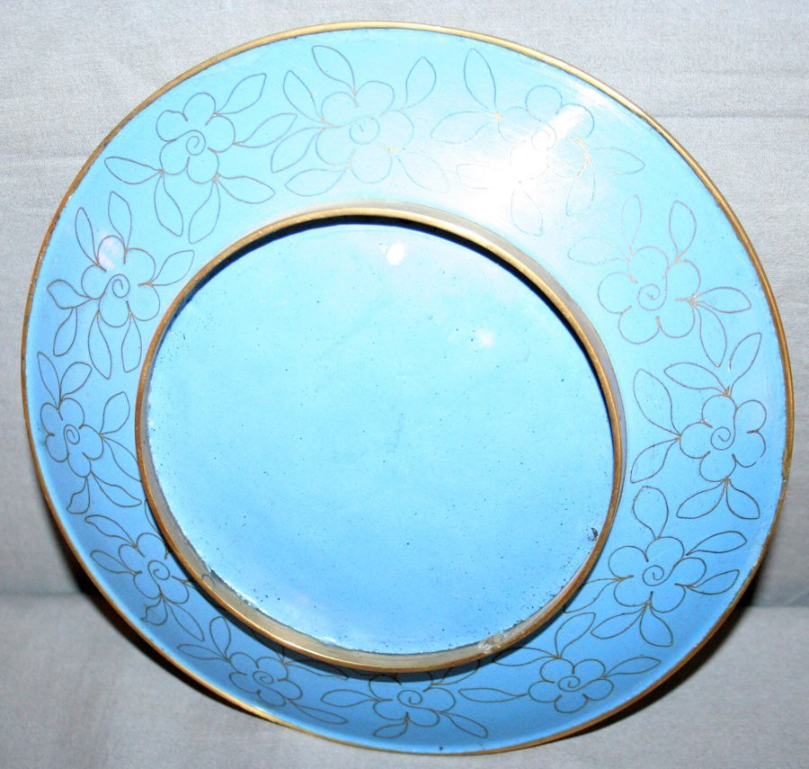 """050259: CHINESE CLOISONNÉ CHARGER, WITH STAND, DIA 8"""" - 2"""