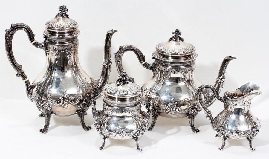 051001: FRENCH .950 SILVER TEA & COFFEE SET,