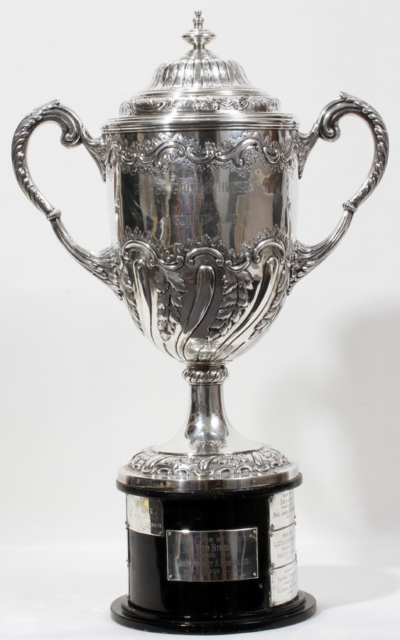 051005: STERLING COVERED TROPHY CUP, LONDON, 1888,