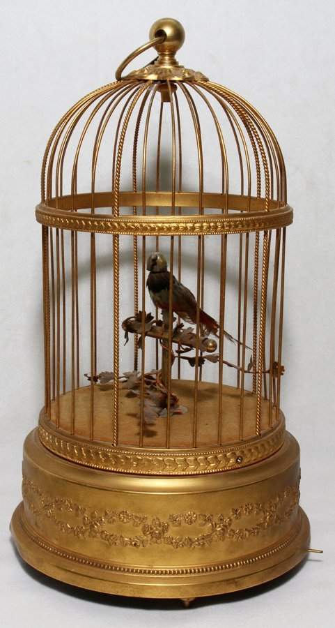 051020: FRENCH AUTOMATON SINGING BIRD IN CAGE