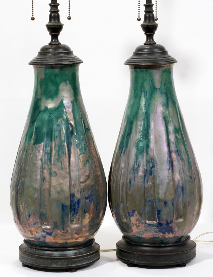 051022: PEWABIC POTTERY VASES, MOUNTED AS LAMPS