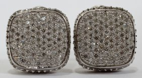 14KT GOLD & 2.50CT DIAMOND PAVE EARRINGS, PAIR