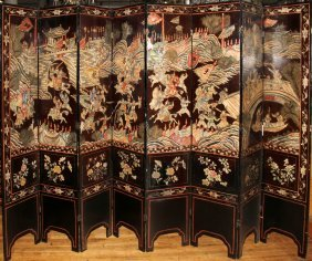 CHINESE COROMANDEL LACQUER EIGHT-PANEL SCREEN,