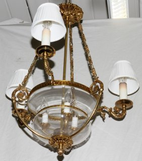 VOID- BLOWN GLASS & GILT METAL CHANDELIER,