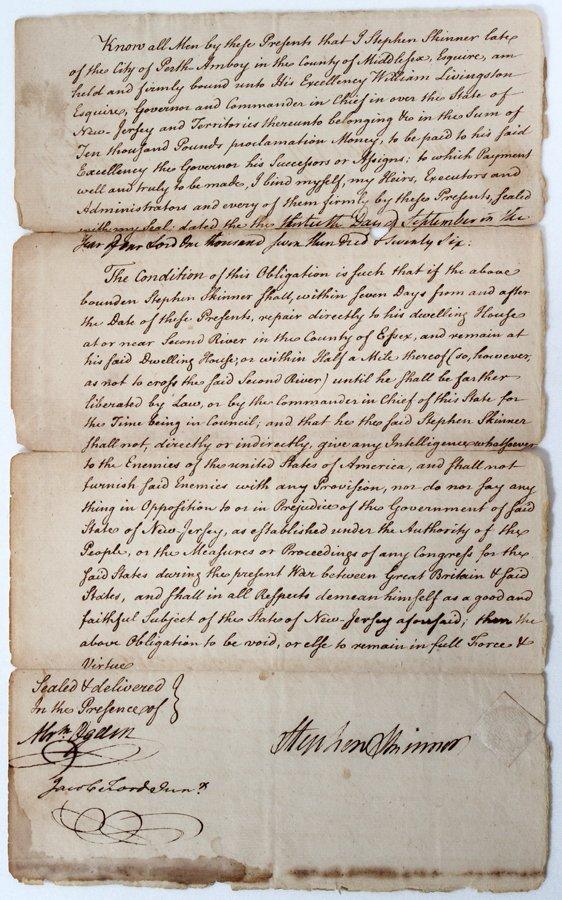 051062: STEPHEN SKINNER (1725-1808) LETTER/BOND SIGNED,