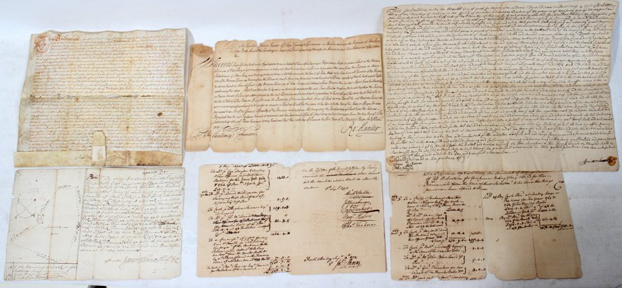 051064: COLONIAL NEW JERSEY AUTOGRAPH SIGNED DOCUMENTS