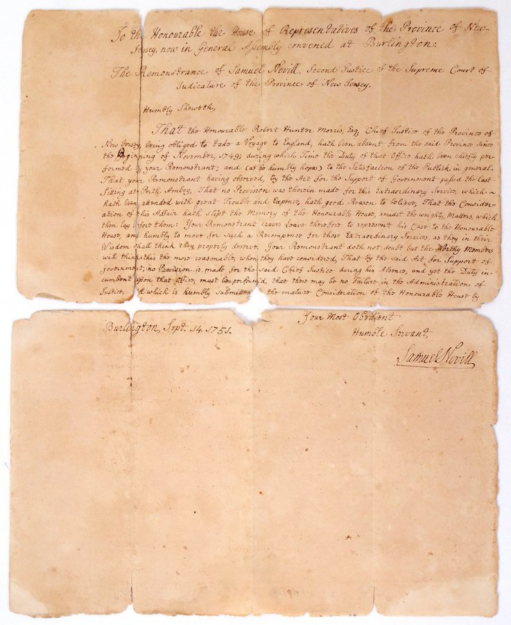 051067: SAMUEL NEVILL (1698-1764) AUTOGRAPH DOCUMENT
