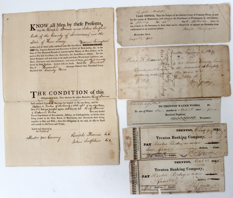051069: EARLY AMERICAN MARRIAGE LICENSE & RECEIPTS,
