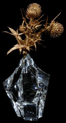"STEUBEN 'THISTLE ROCK' GLASS SCULPTURE, H 7"","