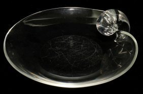 STEUBEN GLASS SCROLL PLATE, W 8 1/2""