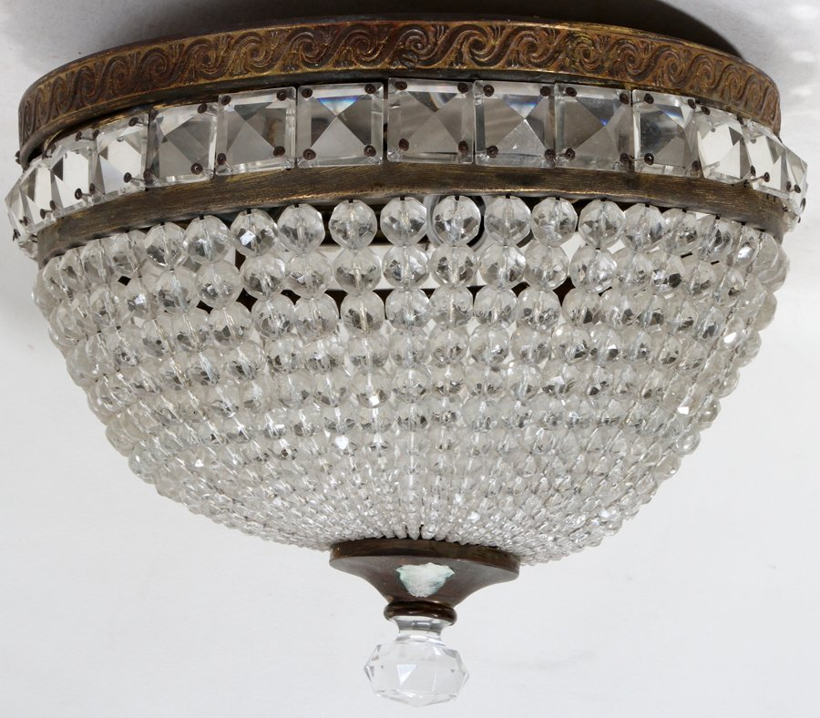 051101: BRONZE & CRYSTAL DOME CHANDELIER, C. 1910,