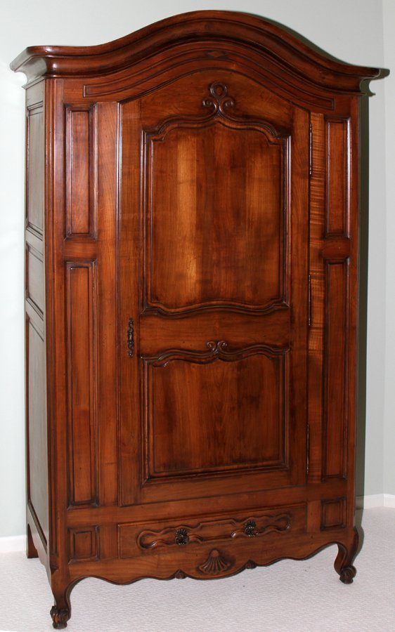 051104: COUNTRY FRENCH STYLE WALNUT ARMOIRE, C. 1950,