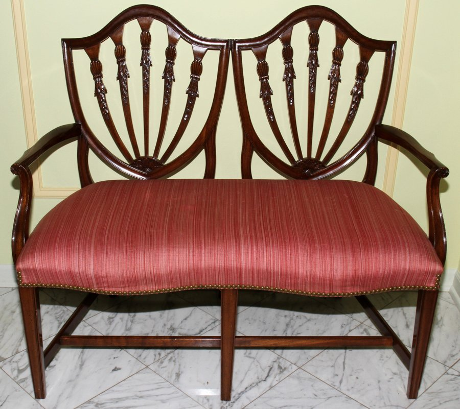 051108: HEPPLEWHITE STYLE MAHOGANY DOUBLE-CHAIR BACK SE