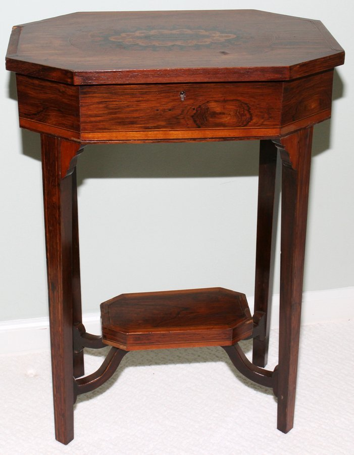 051109: ENGLISH INLAID OCTAGONAL TEA TABLE WITH HINGED