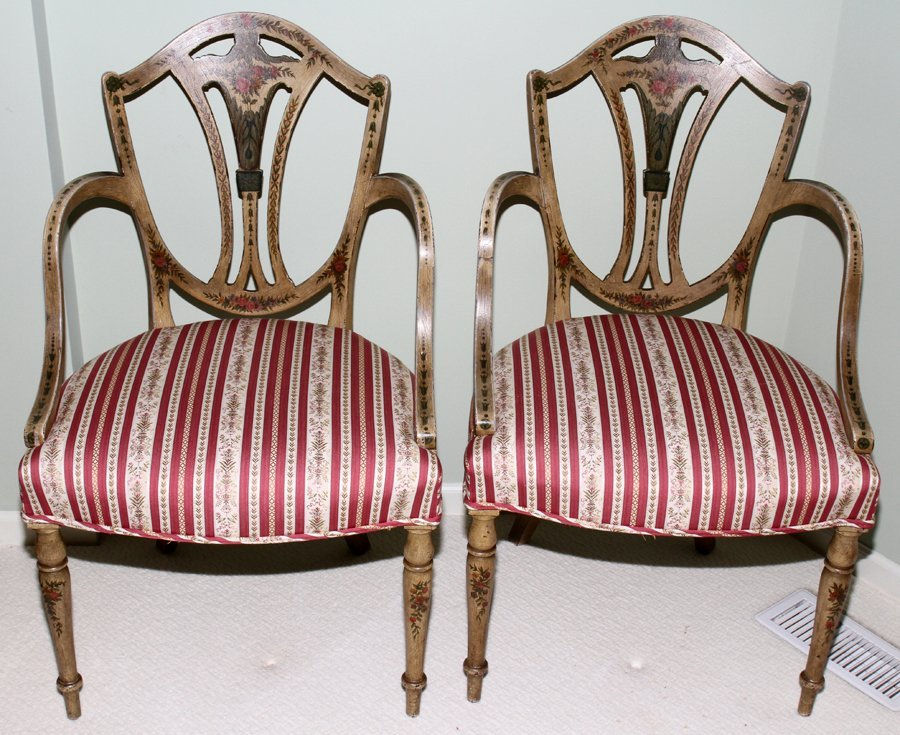051112: SHIELD-BACK ARMCHAIRS, VENETIAN INFLUENCE, PAIR