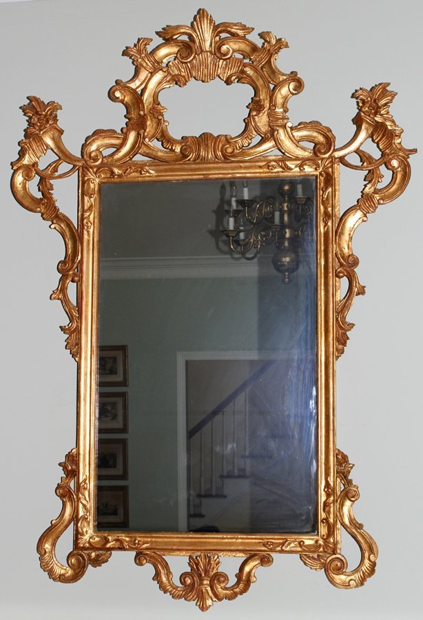 051114: VENETIAN CARVED WOOD WALL MIRROR, C. 1950-60