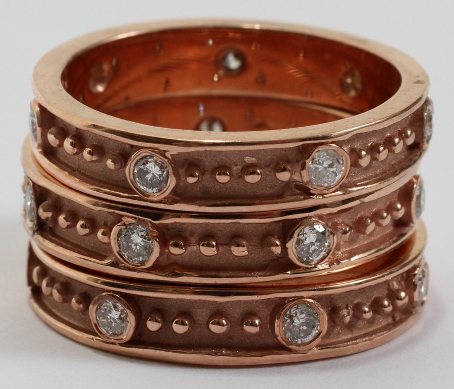 051118: 14KT ROSE GOLD & 1.10CT DIAMOND STACKABLE RINGS