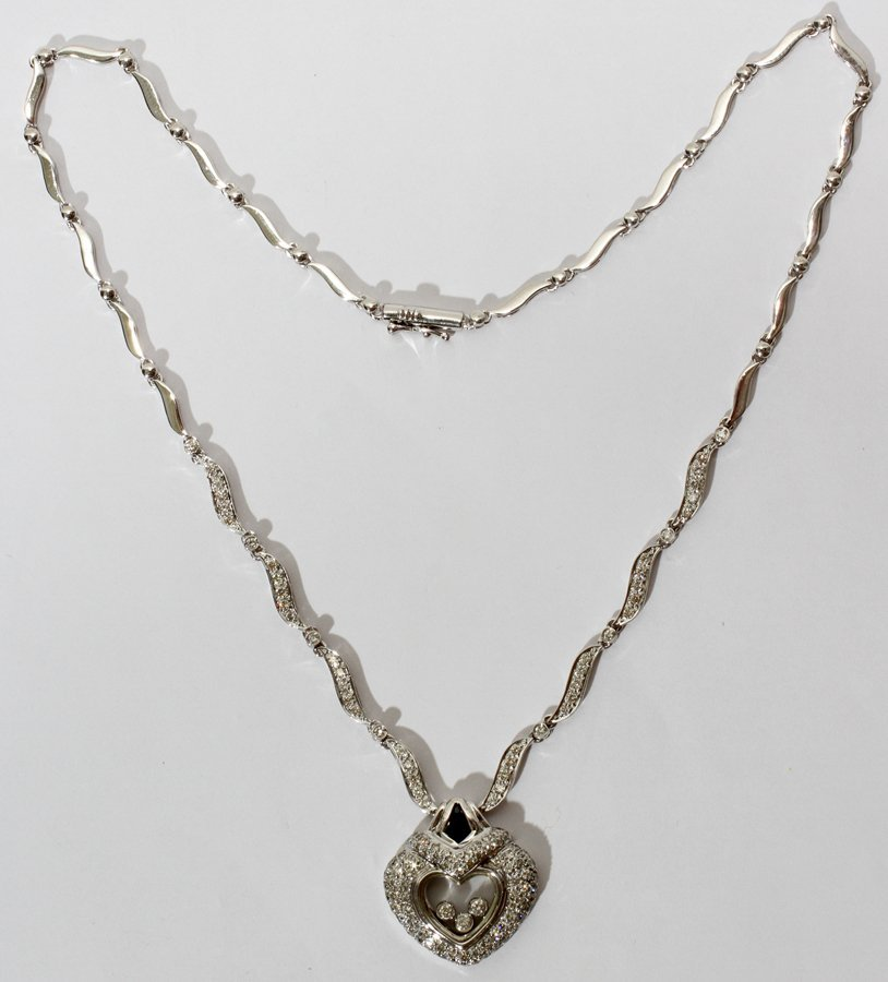 051155: 14KT GOLD & 2.50CT DIAMOND HEART NECKLACE