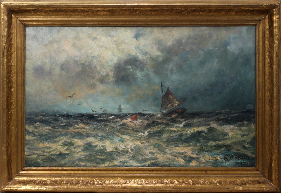 "052007: ROBERT HOPKIN OIL ON CANVAS, DATED 1901, 23"" X"
