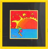 052037 PETER MAX ACRYLIC ON LITHOGRAPH 11 X 11