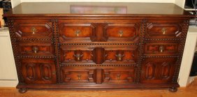 "CENTURY FURNITURE CO. OAK BUFFET, H 38"", L 74"""