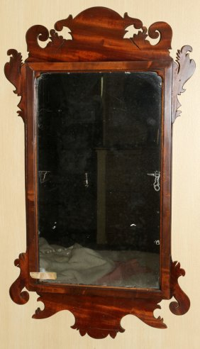 CHIPPENDALE STYLE MAHOGANY MIRROR 19TH C, H 34""