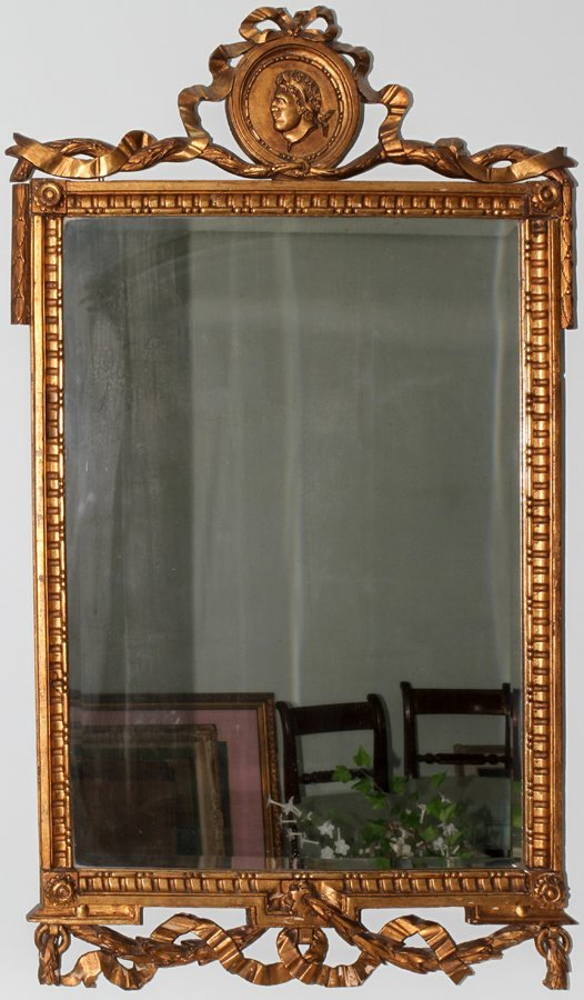 052155: GILT, CARVED WOOD & GESSO BEVELED GLASS MIRROR