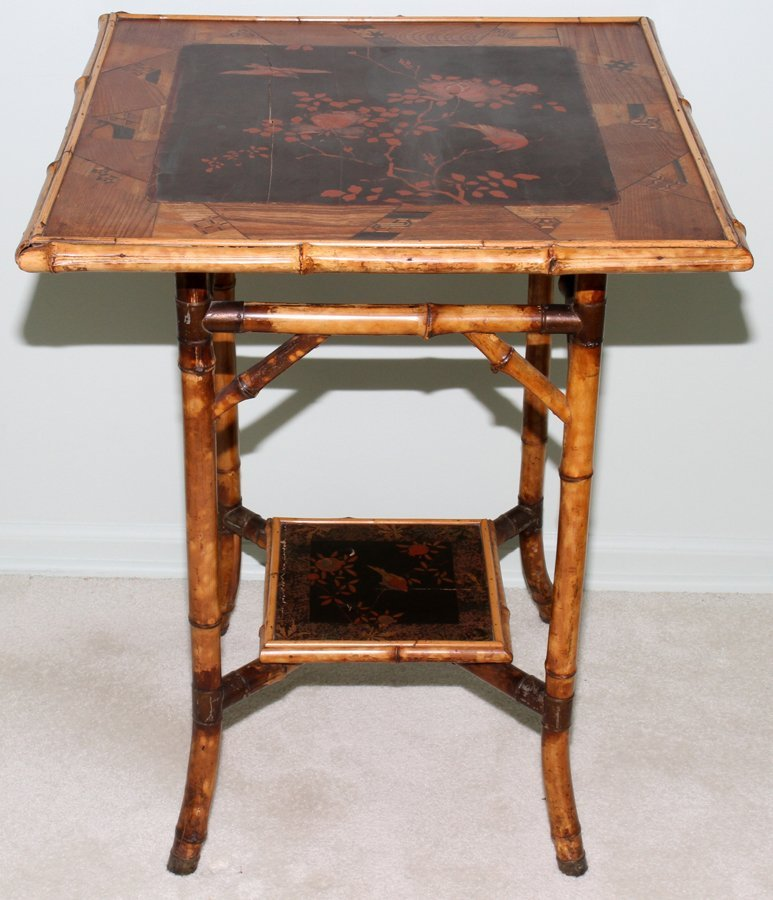 052156: CHINOISERIE STYLE LACQUER & BAMBOO TABLE, H 27""