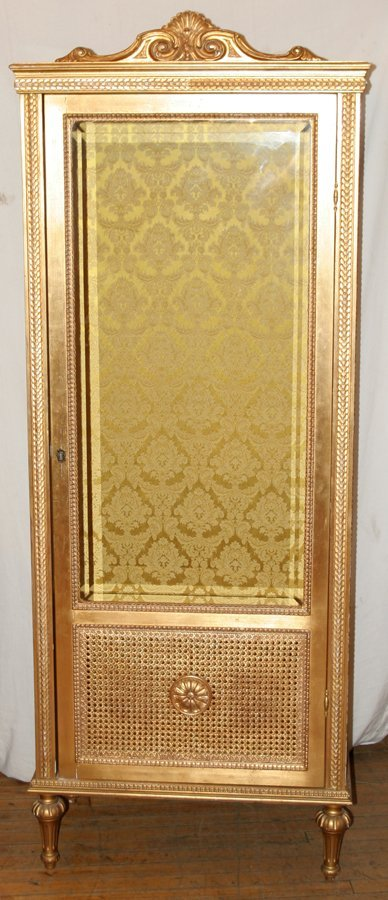 052158: FRENCH LOUIS XVI STYLE GILT CURIO CABINET,