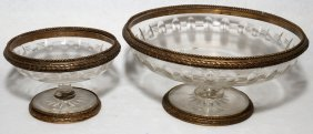FRENCH GILT METAL & CUT CRYSTAL COMPOTES,