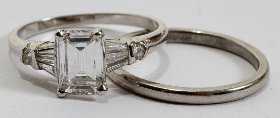 052236: DIAMOND & PLATINUM WEDDING SET, 1.14 CTS, 2 PCS