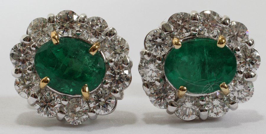 052238: 2.92CT EMERALD & 2.50CT DIAMOND EARRINGS