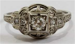 052319: EDWARDIAN 18 KT WHITE GOLD & DIAMOND RING,