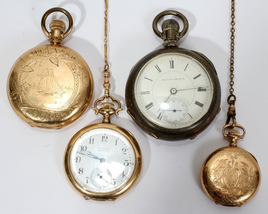 052342: GOLD FILLED & COIN SILVER POCKET WATCHES,
