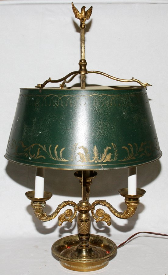 "052517: BRASS BOUILLOTTE LAMP WITH TOLE SHADE, H 26"","